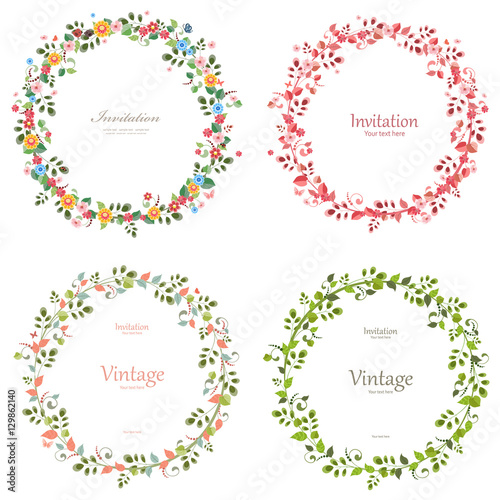 Photo  romantic floral collection of wreaths for your design.