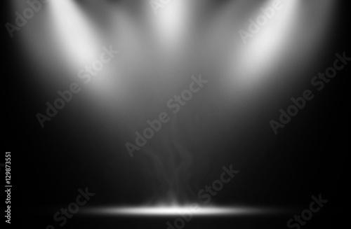 Fototapeta White spotlight smoke effect background. obraz na płótnie