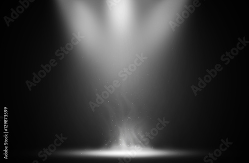 White spotlight smoke effect design background.