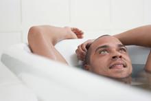 Closeup Of A Man Relaxing In A...