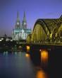 Bridge over the River Rhine, and cathedral (Dom), Cologne (Koln), North Rhine Westphalia, Germany