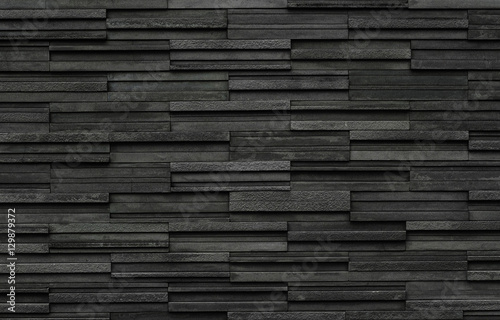 Obraz na plátne Black bricks slate texture background, slate stone wall texture