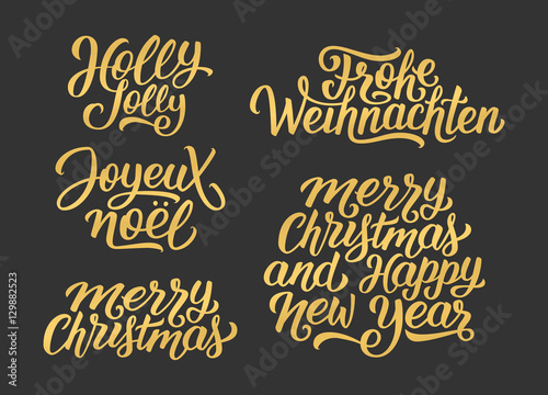 merry christmas and happy new year vector golden lettering set on black with french english