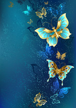 Golden Butterflies On A Blue Background