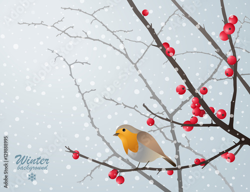 Photo Winter card with bird sitting on bare branch