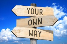 Your Own Way - Wooden Signpost