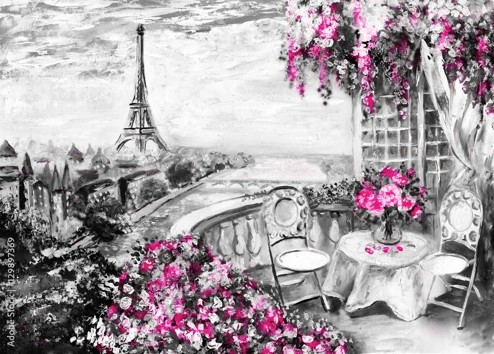 Fototapety, obrazy: Obraz olejny, letnia kawiarnia w Paryżu, Wieża Eiffla, Francja, Sztuka współczesna