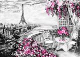 Obraz olejny, letnia kawiarnia w Paryżu. łagodny krajobraz miasta. Streszczenie kwiat. Widok z góry na balkon. Wieża Eiffla, Francja, tapeta. Sztuka współczesna - 129897369