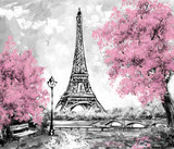 Fototapeta Na drzwi - Oil Painting, Paris. european city landscape. France, Wallpaper, eiffel tower. Black, white and pink, Modern art