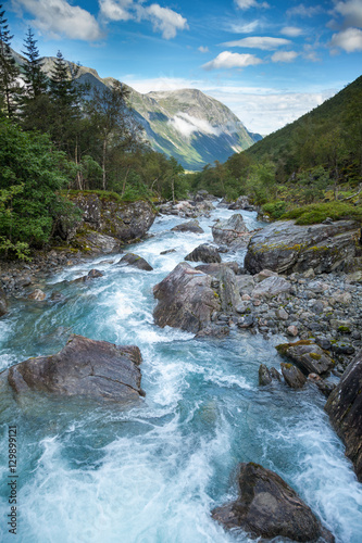 Printed kitchen splashbacks River Norwegian landscape with milky blue glacier river near Trollstigen