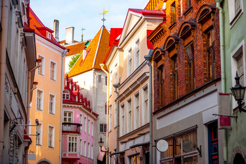 Street view with gate tower in the old town of Tallinn, Estonia