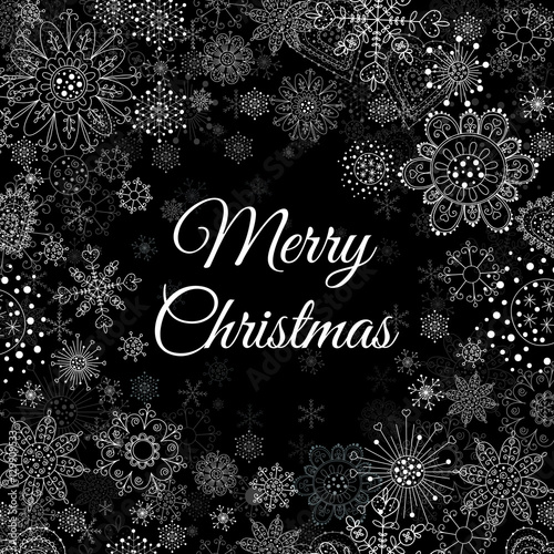 Merry Christmas message and light background with snowflakes. Vector ...