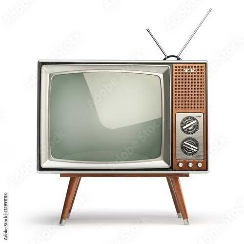 Fotografía  Retro TV set isolated on white background. Communication, media