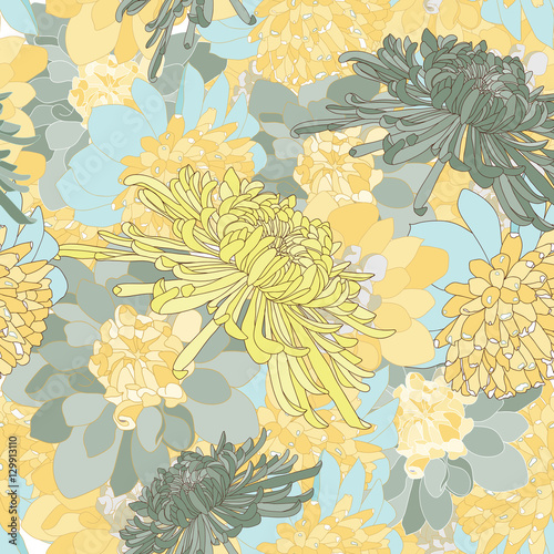 Cuadros en Lienzo repeat chrysanthemum vector background