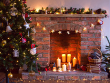 Christmas Setting Background: Decorated Christmas Tree, Pine Cones In The  Basket With Fireplace On The Background;  Candles An Baubles, Selective Focus; Toned Photo