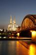 Hohenzollern Bridge over the River Rhine and Cathedral, Cologne, North Rhine Westphalia, Germany