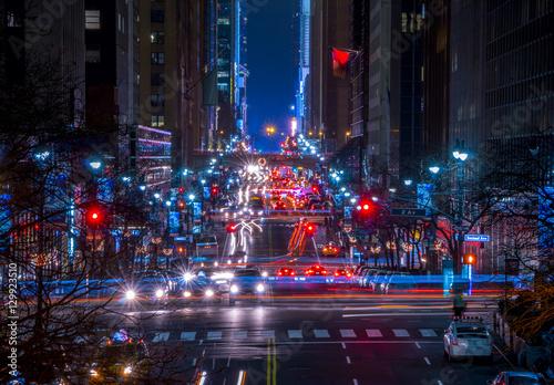 Plakat Nocny ruch uliczny na 42 Street w Nowym Jorku
