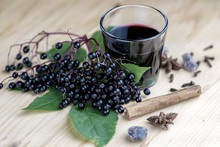 Glass Of Fresh Elderberry Syru...