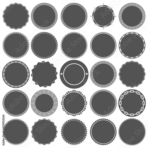 Collection of Round Decorative Border Frames with Solid Filled Background Fototapete