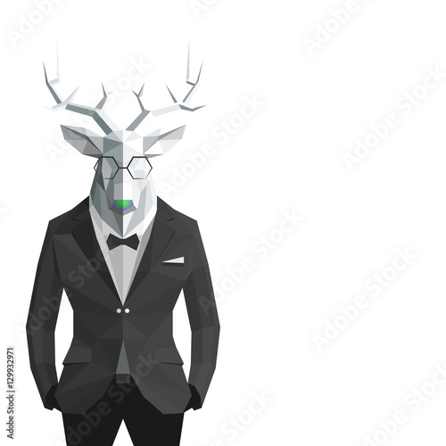 Stylish deer in black suit.White background.Glasses.