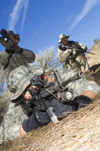 Military Soldiers Aiming Machine Guns Ready For Combat Buy