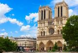 Fototapeta Fototapety Paryż - Notre Dame cathedral facade in Paris, France