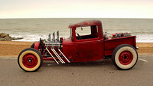 Classic Hot Rod  Pickup Truck On Seafront Promenade With Sea In Background