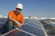 Portrait of electrical engineer at solar power plant