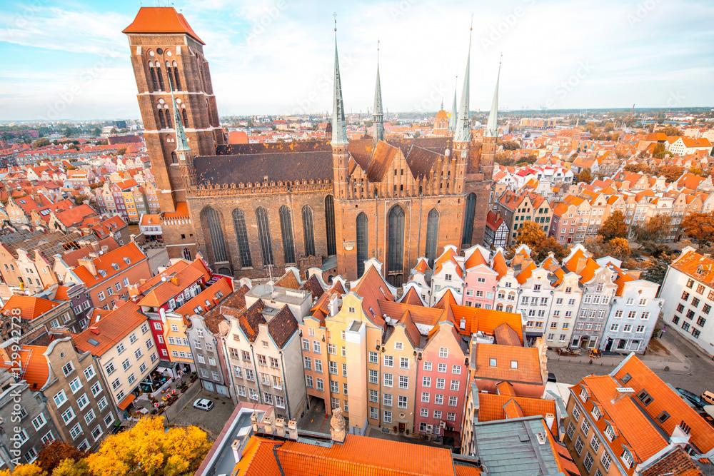 Fototapety, obrazy: Widok z lotu ptaka na stare miasto z kościoła św Marysa w Gdańsku