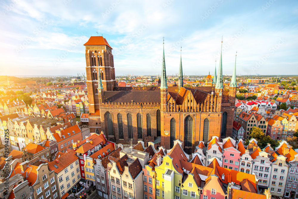 Fototapety, obrazy: Cityscape aerial view on the old town with saint Marys church on the sunset in Gdansk, Poland