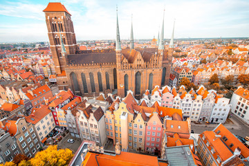 Cityscape aerial view on the old town with saint Marys church in Gdansk, Poland