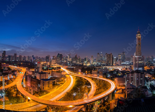 Twilight time expressway of Bangkok cityscape the Capital of Tha Wallpaper Mural