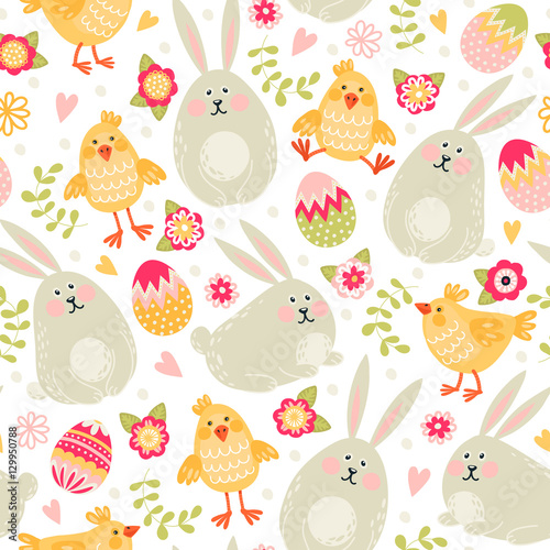 Cotton fabric Seamless pattern with rabbits, chickens and eggs. Happy Easter!