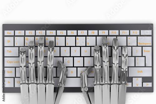 Fototapety, obrazy: 3d illustration metal hands robot on keyboard