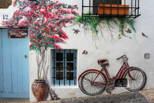 Cute Background With Street Art On The White Wall: Bicycle, Kitten And Flowers.