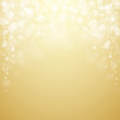Shiny bokeh lights and falling sparkles on golden background. Vector illustration.