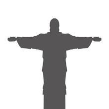 Corcovado Christ Silhouette Icon Vector Illustration Design