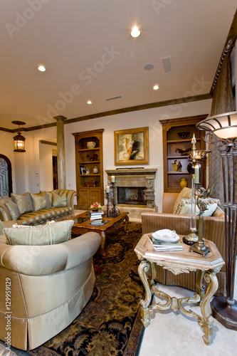 . View of an old fashioned living room interior   Buy this stock photo