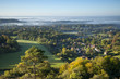 View south from Colley Hill on a misty autumn morning, Reigate, Surrey Hills, Surrey