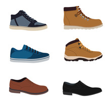 Men's Shoes Isolated Set - Stock Vector