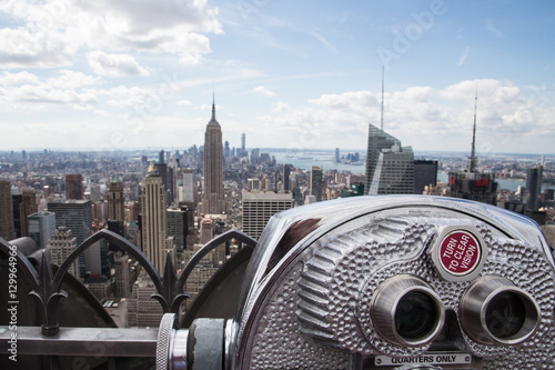 Coin-operated telescope at the Top of the Rock in New York City Fototapet