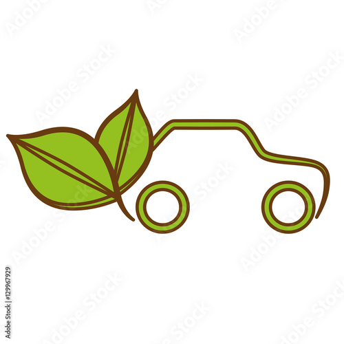 Photographie  leaves and car icon over white background