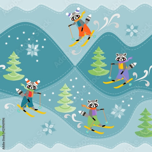 Cotton fabric Cute funny raccoons on skiing. Winter seamless pattern. Print for fabric.