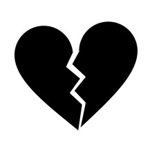 Silhouette Heart Broken Sad Separation Vector Illustration Eps 10