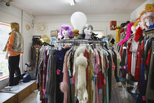 View Of Clothing And Wigs In A...