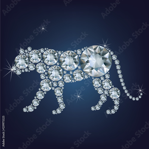 Poster  Happy new year 2022 creative greeting card with Tiger made up a lot of diamonds