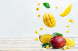 canvas print picture - mango with flying slices