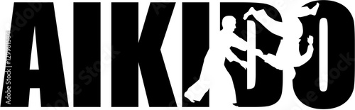 Aikido word with cutout silhouettes Wallpaper Mural