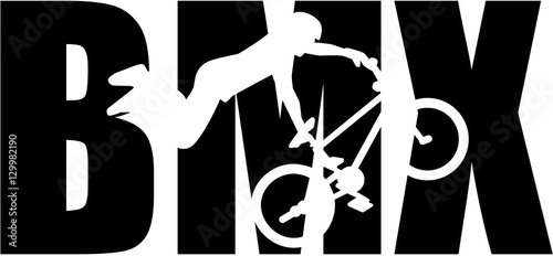 Leinwand Poster BMX word with silhouette cutout