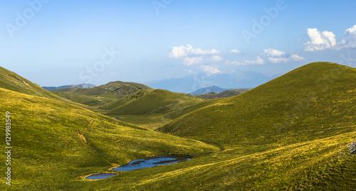 Fotografia, Obraz Panoramic view of beautiful landscape with Gran Sasso d'Italia peak at Campo Imp